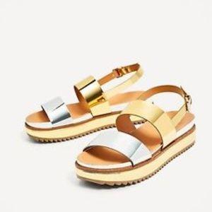 Zara Gold & Silver Metallic Platform Sandals 39
